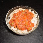 Whole Wheat Pasta with Roasted Red Pepper and Olive Sauce