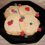 Chia Seed Pancakes Topped with Berries