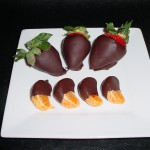 Chocolate dipped fresh strawberries and clementines