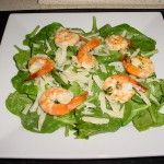 Roasted Garlic Shrimp Over Fresh Spinach